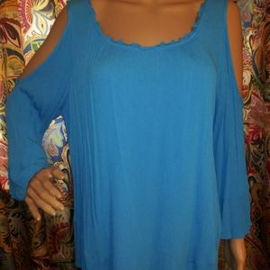 Chico's Open Sleeve Blue Gauze Cold Shoulder Pullo